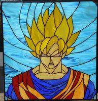 SSJ Goku in stained glass form by ZeroWingLabs