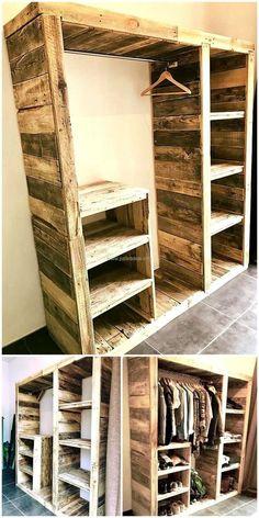 48 Creative DIY pallet projects and design of pallet furniture – DIY und Selber Machen Holz - Diy Furniture Pallet Wardrobe, Pallet Closet, Diy Wardrobe, Build Your Own Wardrobe, Basement Closet, Dorm Closet, Closet Wall, Front Closet, Ikea Closet