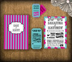Can modify colours Circus/Carnival Wedding Invitation DIY Set (printable) Our Wedding, Wedding Venues, Wedding Photos, Dream Wedding, Wedding Ideas, Vintage Wedding Invitations, Wedding Stationery, Event Planning, Wedding Planning