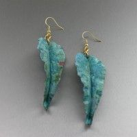 Fold Formed Green Patinated Copper Leaf Earrings. Sleek and contemporary   http://www.ilovecopperjewelry.com/fold-formed-green-patinated-copper-leaf-earrings.html  $95.00