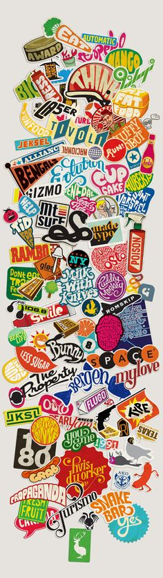 Sticker typography by mats ottdal via behance everything about this design is me the popping colors varieties of text with a retro sticker fee