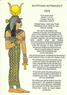 Egyptian Astrology: What Your Egyptian Zodiac Sign Says About Your Personality Ancient Egyptian Deities, Egyptian Mythology, Egyptian Symbols, Ancient Art, Ancient History, Isis Goddess, Egyptian Goddess, Goddess Isis Tattoo, Egyptian Queen