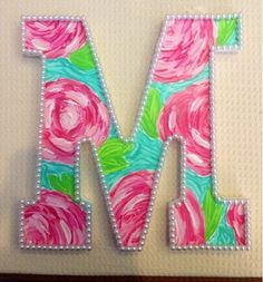heyitsmeredithj: DIY: Lilly Pulitzer Print Letters (First Impressions w/ pearls)