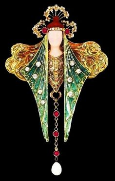 Georges Fouquet pendant / brooch with a natural pearl drop. Body of the pendant…