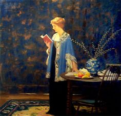 Woman in a blue kimono-inspired jacket reading a book next to a Chinese vase. Painting by Thomas C. Corner