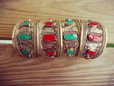 FREE Shipping Pair of Gypsy Vintage Cuff Bracelet.Coral and Malachite Cuff bracelet classical  bangle African Tribal jewelry ornament.
