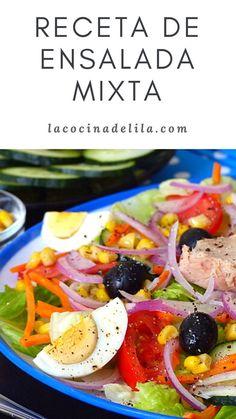 Una buena ensalada mixta siempre es bien recibida en la mesa. Perfecta para servirla como entrante, guarnición de carnes o pescados o incluso como plato único en aquellas ocasiones en las que nos apetece comer algo rico, fresco y saludable. #ensaladas #lacocinadelila #dieta