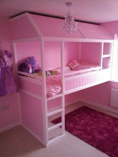 IKEA Kuva loft bed transformed into a Princess bed... TOO cool!! http://www.ikeahackers.net/2013/03/kura-princess-bed.html?utm_source=BP_featured