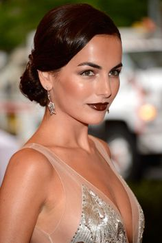 Camilla Belle - Her flawless olive skin and striking eyebrows help offset the intensity of the deep burgundy lip color she wore to the 2012 Met Ball in New York City. --This is how you do dark lips! Camilla Belle, The Beauty Department, Vampy Lipstick, Lipstick Shades, Burgundy Lips, Deep Burgundy, Maroon Lips, Red Lips, Olive Skin