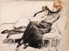 La Sieste - Paul César Helleu - (French: 1859-1927)