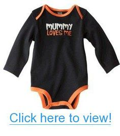 Carter Infant Long-sleeve Body Suit - Mummy Loves Me - Halloween - Black and Orange (12 MONTHS)
