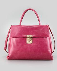 Vitello Four-Pocket Tote Bag, Pink by Miu Miu at Bergdorf Goodman. Anti Fashion, Best Brand, Tote Handbags, Miu Miu, Bag Accessories, Shoulder Strap, Product Launch, Tote Bag, Pocket