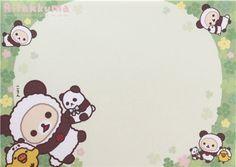 small memo pad with shamrock, donuts, Kiiroitori chick, Rilakkuma and Korilakkuma bears in panda costumes
