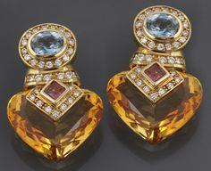 A pair of citrine, diamond, gem-set and 18k gold ear-clips