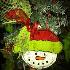 Snowman burlap ornament