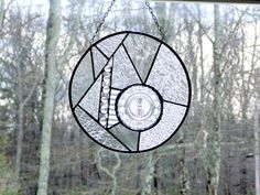 Stained glass suncatcher panel unique by DesignsStainedGlass, $75.00