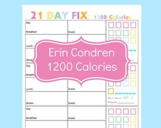 21 Day Fix Planner Printables for your Erin Condren Life Planner. Easy to use tracking sheets to log your meals, etc and track your progress!  What