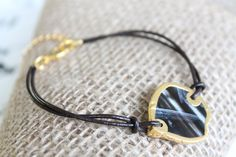 Dark Brown, Black 'n White Banded Geode Agate Slice with Gold Dipped Edge on Brown Leather Cord Bracelet with Gold Plated Extension Chain