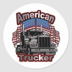 America Trucker Classic Round Sticker  #fathersdaygifts #fathersday2016 #fathersdayweekend fathers day gift ideas, fathers day gifts ideas from daughter, diy fathers day gifts from kids, 4th of july party