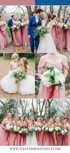 dusty rose bridesmaid dresses with matched wedding colors #wedding #weddinginspiration #bridesmaids #bridesmaiddress #bridalparty #maidofhonor ##bridetobe #weddingcolors