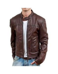 Brown Bomber Biker Mens Leather Jacket