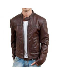 Brown Bomber Biker Mens Leather Jacket