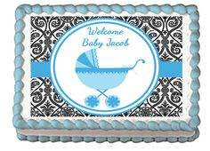BABY CARRIAGE STROLLER Blue Edible Baby Shower by EBDesignAndPrint