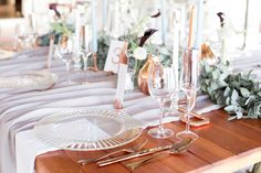 Riverside Country Estate was the perfect backdrop for our Modern Elegance Styled Wedding Shoot {as featured on Mooi Troues earlier this year}. We love combining simple elements like glass & copper with a very simplistic greenery runner, adding a few Black Calla Lilies & White Tulips for a pop of colour. Follow us on Facebook @Pronkertjie for more of our work Blush Wedding Theme, Gold Wedding Colors, Wedding Shoot, Chic Wedding, Wedding Table, Gold Wedding Centerpieces, Wedding Decorations, Black Calla Lily, Blush And Gold