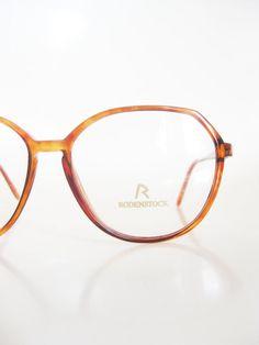 Vintage Rodenstock Womens Oversized Glasses Eyeglasses 1980s Amber Golden Tortoiseshell Tortoise Shell Deadstock NOS Eighties Classic Nerdy