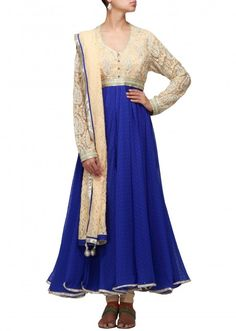Blue anarkali suit featuring with embroidered yoke