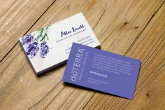 Watercolor lavender business card design personalized for essential oil distributors & advocates. Choose from dōTerra, Young Living, your own logo or a generic version. #business #networking