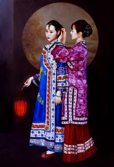 Xue Yanqun - The Lantern Shenyang, Geisha Kunst, Geisha Art, Painting Collage, Woman Painting, Chinese Painting, Chinese Art, Japanese Painting, Fabian Perez