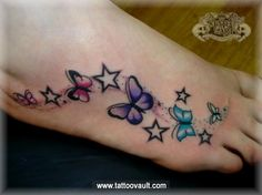 three butterflies foot tattoo | ... 788 categories foot tattoos butterfly tattoos share this on download I like the colors