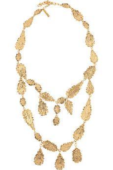 Oscar de la Renta Hammered gold-plated leaf necklace | THE OUTNET