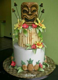 Another Awesome Tiki Cake Hawaiian Theme Cakes, Luau Cakes, Ocean Cakes, Beach Cakes, Hawaiian Birthday, Luau Birthday, 28th Birthday, Moana Birthday, Luau Theme Party