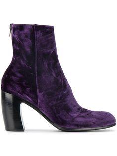 ANN DEMEULEMEESTER Lavato Prugna velvet ankle boots. #anndemeulemeester #shoes #