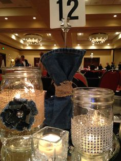 Denim and Diamonds centerpiece                                                                                                                                                                                 More