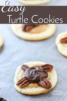 Just like their candy namesake, these Easy Turtle Cookies combine pecans, gooey . Just like their candy namesake, these Easy Turtle Cookies combine pecans, gooey caramel and chocolate to make a delicious treat that's perfect for cookie exchanges. Cookie Recipes From Scratch, Healthy Cookie Recipes, Healthy Cookies, Best Dessert Recipes, Yummy Cookies, Fun Desserts, Sweet Recipes, Delicious Desserts, Bar Recipes