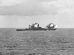 he U.S. Navy battleship USS New Jersey (BB-62) bombarding Tinian island, Marianas, 14-15 June 1944.