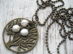 Kugelkette Lebensbaum Perlen bronzefarben von chrissona auf DaWanda.com