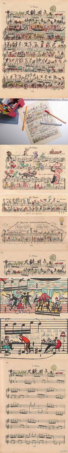 Sheet music art. Seriously- this would be a great gift framed!!