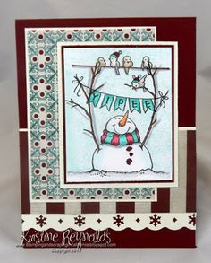 This is Snowman Banners Perfectly Clear Stamp Set from Stampendous. I used Tiny Alphabet clear stamp set to stamp the letters on the banner.  The image was colored with Copic Markers.