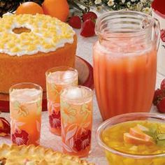 Fruit Cooler - Taste of Home. A great pick-me-up drink during warm Spring & Summer weather. Add ice cubes while blending to make a slushy version, which is refreshing in the summer, when friends stop by, etc.