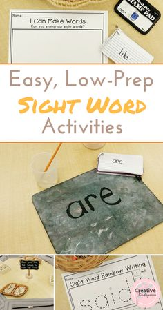easy, low-prep sight word center ideas for kindergarten. with freebie!