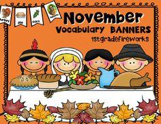 November Vocabulary Banner