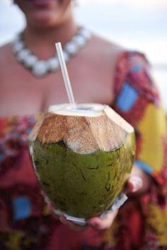 Coconut cocktails for a beach wedding! Too cute!