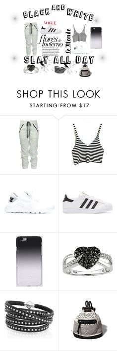 """#Black And White"" by pugh-skylar ❤ liked on Polyvore featuring NIKE, adidas Originals, C6, Ice, Sif Jakobs Jewellery and Abercrombie & Fitch"