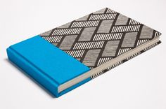 JOURNAL or NOTEBOOK - Blue fabric and patterned paper with gometric lines - Handmade