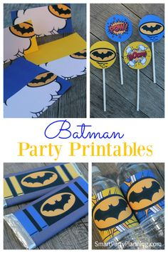 If you are going to organize a Batman party, and you need some DIY decorations, then this set of party printables will be perfect for you. The set has downloadable food tent labels, cupcake toppers, water / soda bottle labels and Hershey bar wrappers. You can also use the Hershey bar wrappers as party favors, therefore combining party decoration with favour gifts. These batman printables will be perfect for all those little superheroes.