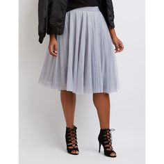 Charlotte Russe Tulle Full Midi Skirt ($30) ❤ liked on Polyvore featuring plus size women's fashion, plus size clothing, plus size skirts, dark gray, elastic waist skirt, high-waist skirt, mid calf skirts and tulle midi skirt